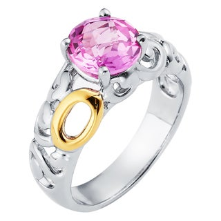 Boston Bay Diamonds 18k Gold and Sterling Silver 8mm Round-cut Pink Sapphire Ring