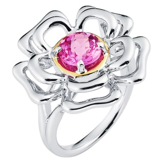 Boston Bay Diamonds 18k Gold and Sterling Silver 7mm Round-cut Pink Sapphire Ring