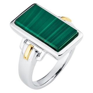 Boston Bay Diamonds 18k Yellow Gold and 925 Sterling Silver 8x16mm Flat Baguette-cut Malachite Ring