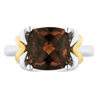 Boston Bay Diamonds 18k Gold and Sterling Silver 10x10mm Cushion-cut Smoky Quartz Ring