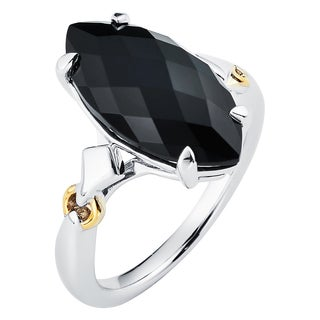 Boston Bay Diamonds 18k Gold and Sterling Silver 9x18mm Marquise-cut Black Onyx Ring