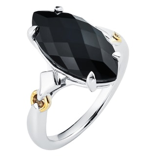 Boston Bay Diamonds 18k Yellow Gold and 925 Sterling Silver 9x18mm Marquise-cut Black Onyx Ring