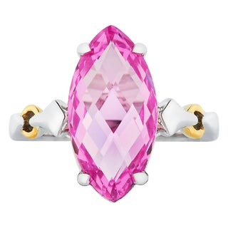 Boston Bay Diamonds 18k Yellow Gold and 925 Sterling Silver 9x18mm Marquise-cut Pink Sapphire Ring