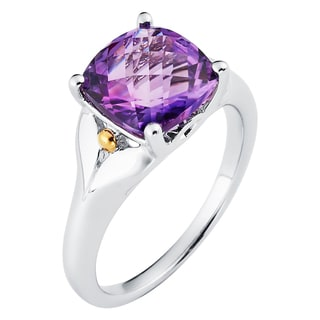 Boston Bay Diamonds 18k Gold and Sterling Silver 8x8mm Cushion-cut Amethyst Ring Ring