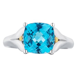 Boston Bay Diamonds 18k Gold and Sterling Silver 8x8mm Cushion-cut Blue Topaz Ring