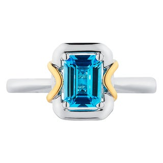 Boston Bay Diamonds 18k Gold and Sterling Silver 5x7mm Emerald-cut Blue Topaz Ring