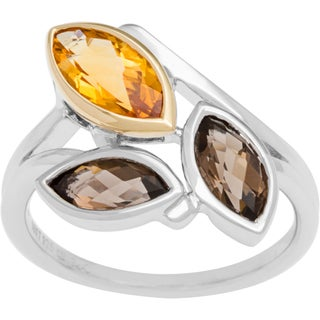 Boston Bay Diamonds 18k Gold and Sterling Silver Citrine and Smoky Quartz Ring