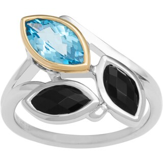 Boston Bay Diamonds 18k Yellow Gold & 925 Sterling Silver Blue Topaz & Black Onyx Ring