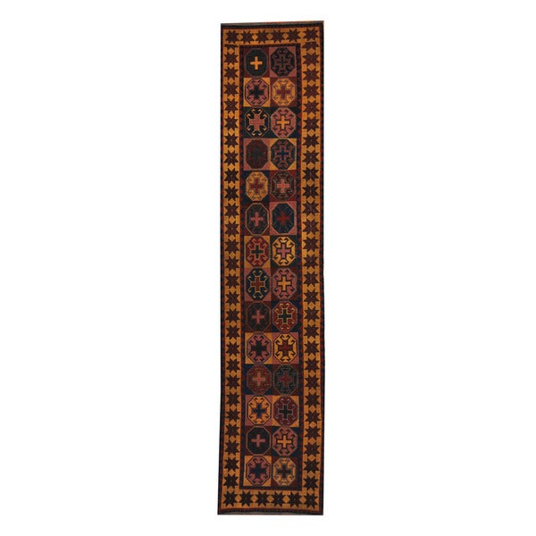 Herat Oriental Afghan Hand-knotted Tribal Soumak Kilim Wool Rug (2'8 x 12'3)