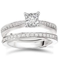 Avanti Sterling Silver 1 1/2ct TGW Cubic Zirconia Pinched Shank Bridal Ring Set
