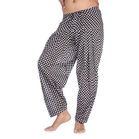 Handmade In-Sattva Women's Indian Checkerboard Print Patiala Pants (India)