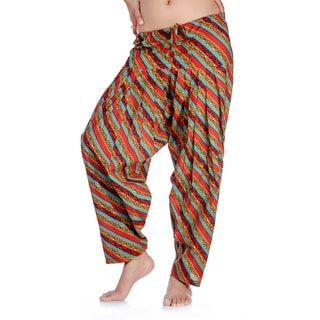 In-Sattva Women's Indian Colorful Diagonal Stripes Print Patiala Pants (India)