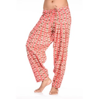 Handmade In-Sattva Women's Indian Teapot Print Patiala Pants (India) - PINK (2 options available)