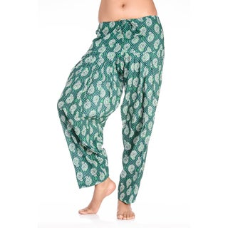 Handmade In-Sattva Women's Indian Peacock Feather Print Patiala Pants (India)