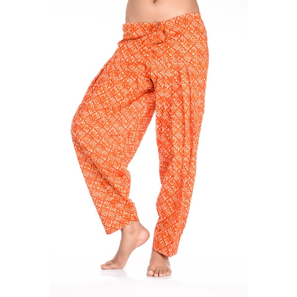 Handmade In-Sattva Women's Indian Diamonds with Lines Print Patiala Pants (India). Opens flyout.