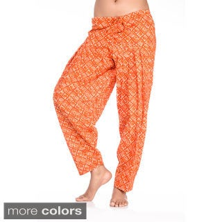 Handmade In-Sattva Women's Indian Diamonds with Lines Print Patiala Pants (India)