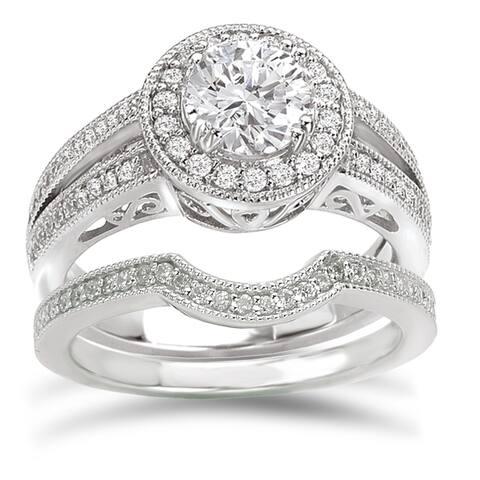 Avanti Rhodium Plated Sterling Silver 2 1/ 2ct TGW Cubic Zirconia Shank Bridal Ring Set