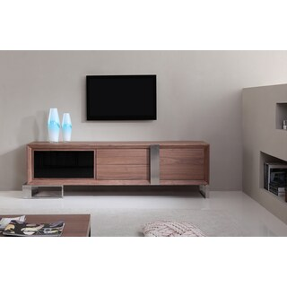 Entertainer Light Walnut/Stainless Steel Modern TV Stand with IR Glass