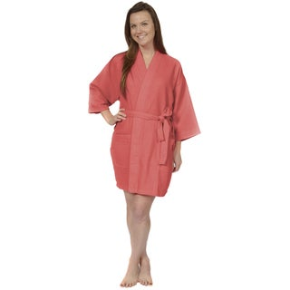 Leisureland Women's 36-inch Waffle Weave Kimono Bath Robe