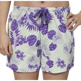 Leisureland Women's Cotton Jersey Pajama Boxer Shorts Vintage Botanical Floral Aqua