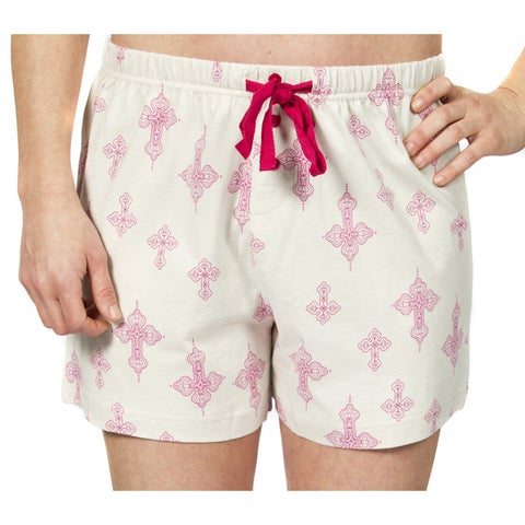 Leisureland Women's Khaki and Pink Falling Cross Print Cotton Pajama Boxer Shorts