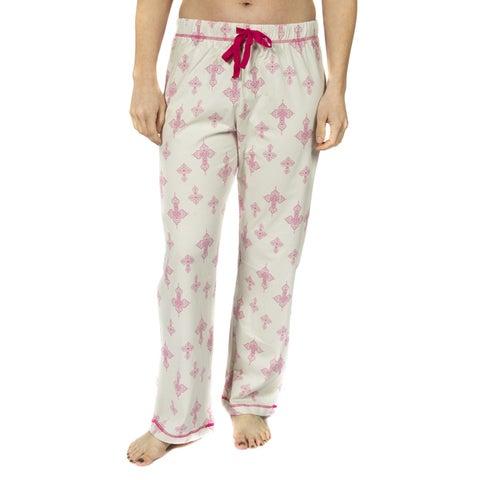 Leisureland Women's Cotton Jersey Falling Cross Pajama Pants