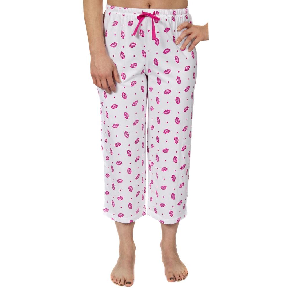 Leisureland Womens Jersey Cotton Knit Pajama Capri Pants