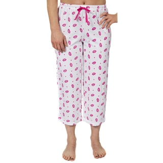 Leisureland Women's Jersey Cotton Knit Pajama Capri Pants
