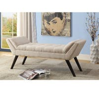 Carson Carrington Nesbyen Mid-century Modern Retro Beige Linen Fabric Upholstered Grid-Tufting 50-Inch Bench