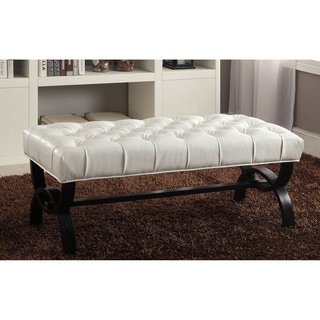 Viviana Modern and Contemporary Style White Faux Leather Upholstered Bench with Unique Curved X-Base
