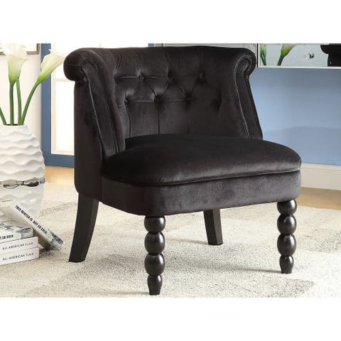 Silver Orchid Heston Victorian Style Contemporary Black Velvet Upholstered Accent Chair