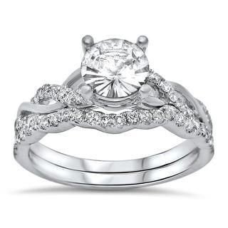 Noori 14k White Gold 2/5ct TDW Diamond and White Sapphire Engagement Ring Set (F-G, SI1-SI2)