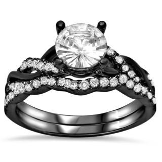 Noori 14k Black Gold 2/5ct TDW Diamond and Round-cut White Sapphire Engagement Ring Set (F-G, SI1-SI2)