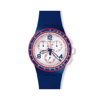 Swatch Unisex SUSZ100 'Original' Chronograph Blue Silicone Watch