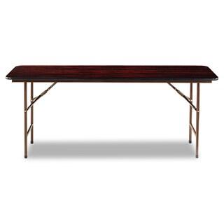 Alera 72w x 18d x 29h Rectangular Walnut Wood Folding Table