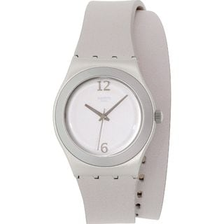 Swatch Women's YLS1033 'Irony' Grey Leather Watch