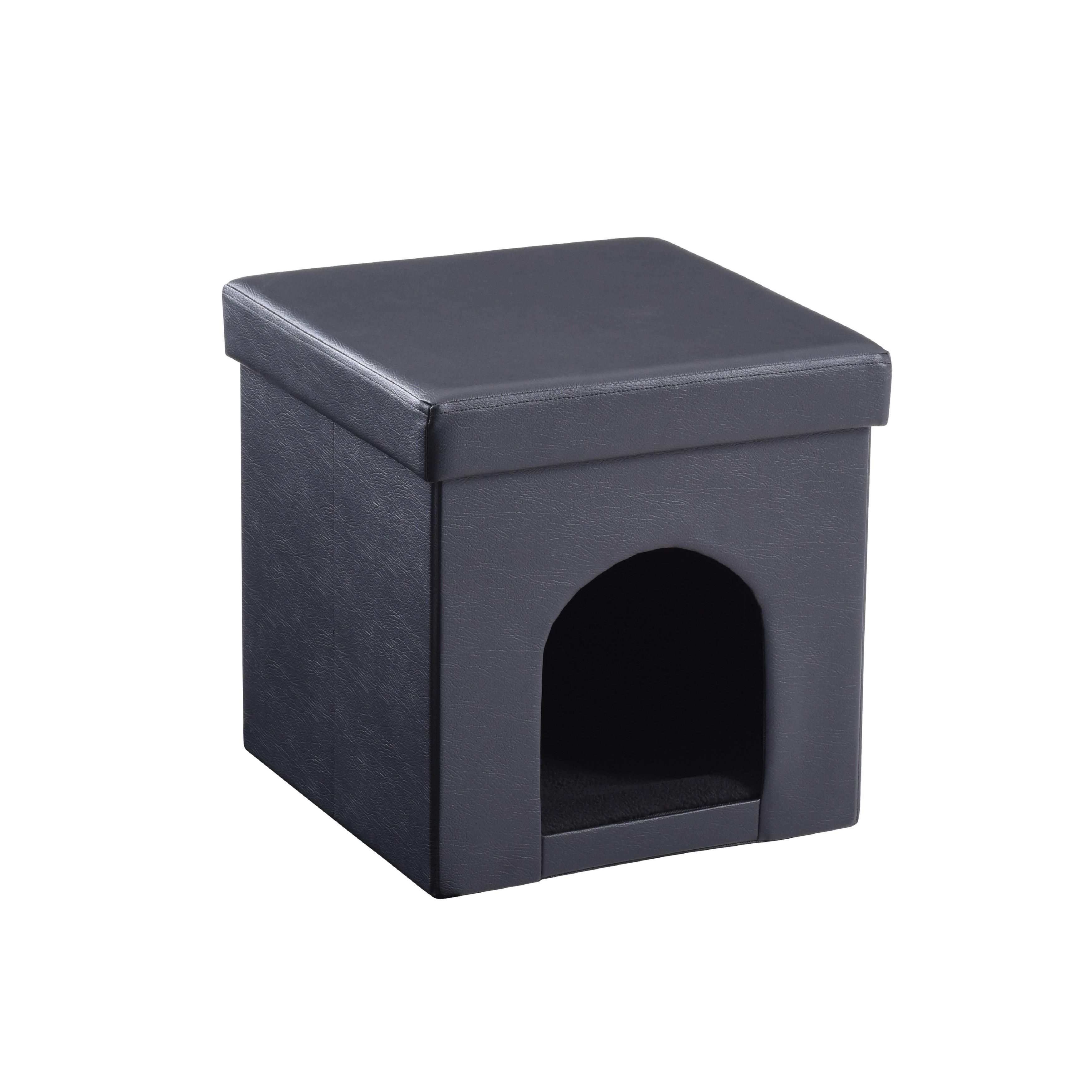 Hodedah Foldable Storage Pet Ottoman (Black), Size Medium...