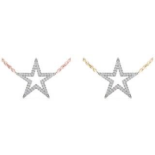 De Couer 10k Gold 1/8ct TDW Diamond Star Necklace (H-I, I2)
