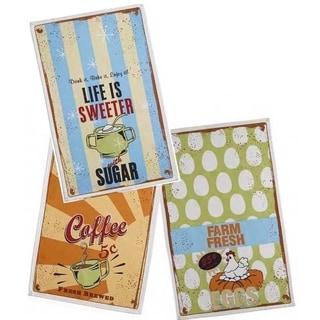 Vintage Signs Printed Tea Towels (Set of 3)