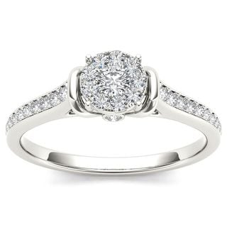 De Couer 10k White Gold 1/3ct TDW Diamond Cluster Engagement Ring - White H-I