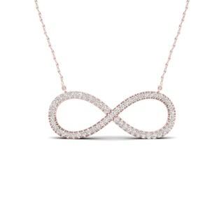 De Couer 10k Gold 1/6ct TDW Diamond Infinity Loop Necklace (H-I, I2)