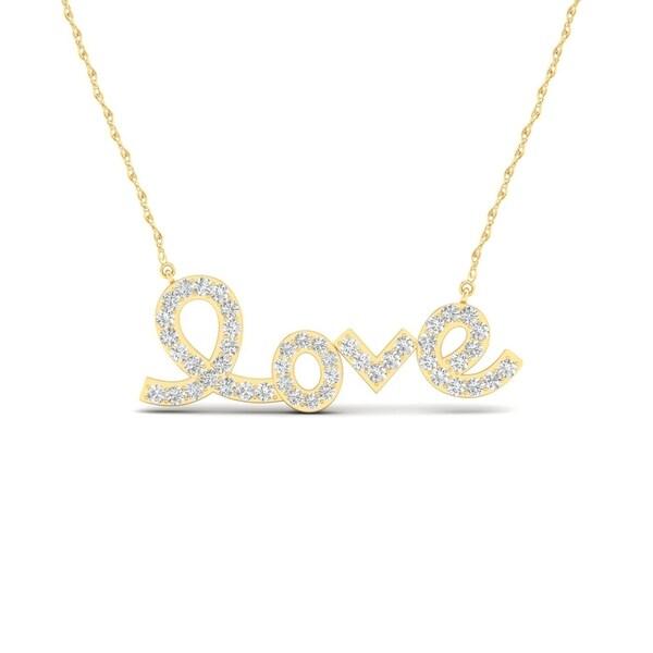 """De Couer 10k Gold 1/6ct TDW Diamond """"love"""" Necklace"""