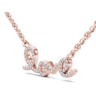 "De Couer 10k Gold 1/6ct TDW Diamond ""love"" Necklace (H-I, I2)"