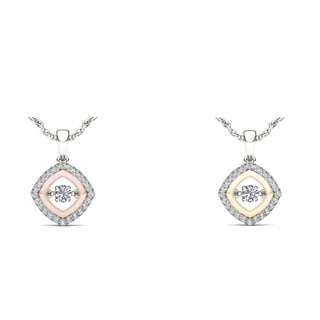 De Couer 10k Two-Tone White Gold 1/3ct TDW Diamond Heart Beat Necklace (H-I, I2)