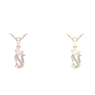 De Couer 10k Gold 1/20ct TDW Diamond Cat Necklace (H-I, I2)