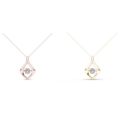 De Couer 10k Gold 1/10ct TDW Diamond Heart Beat Necklace