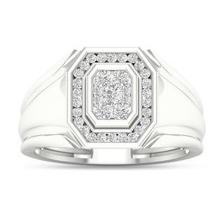 De Couer 10k White Gold 1/2ct TDW Diamond Men's Cluster Ring (H-I, I2)
