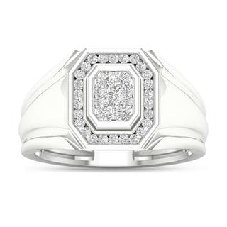 De Couer 10k White Gold 1/2ct TDW Diamond Men's Cluster Ring - White H-I