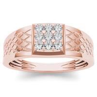 De Couer 10k Rose Gold 1/3ct TDW Diamond Men's Cluster Ring