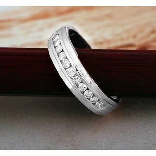de couer 10k white gold 12ct tdw diamond mens wedding band - Mens Diamond Wedding Rings White Gold